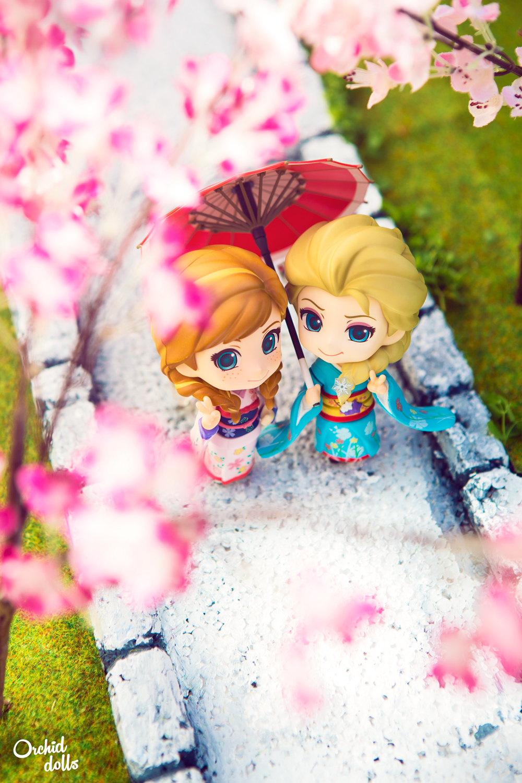 Elsa y Anna Nendoroid Frozen en Hanami con Kimonos