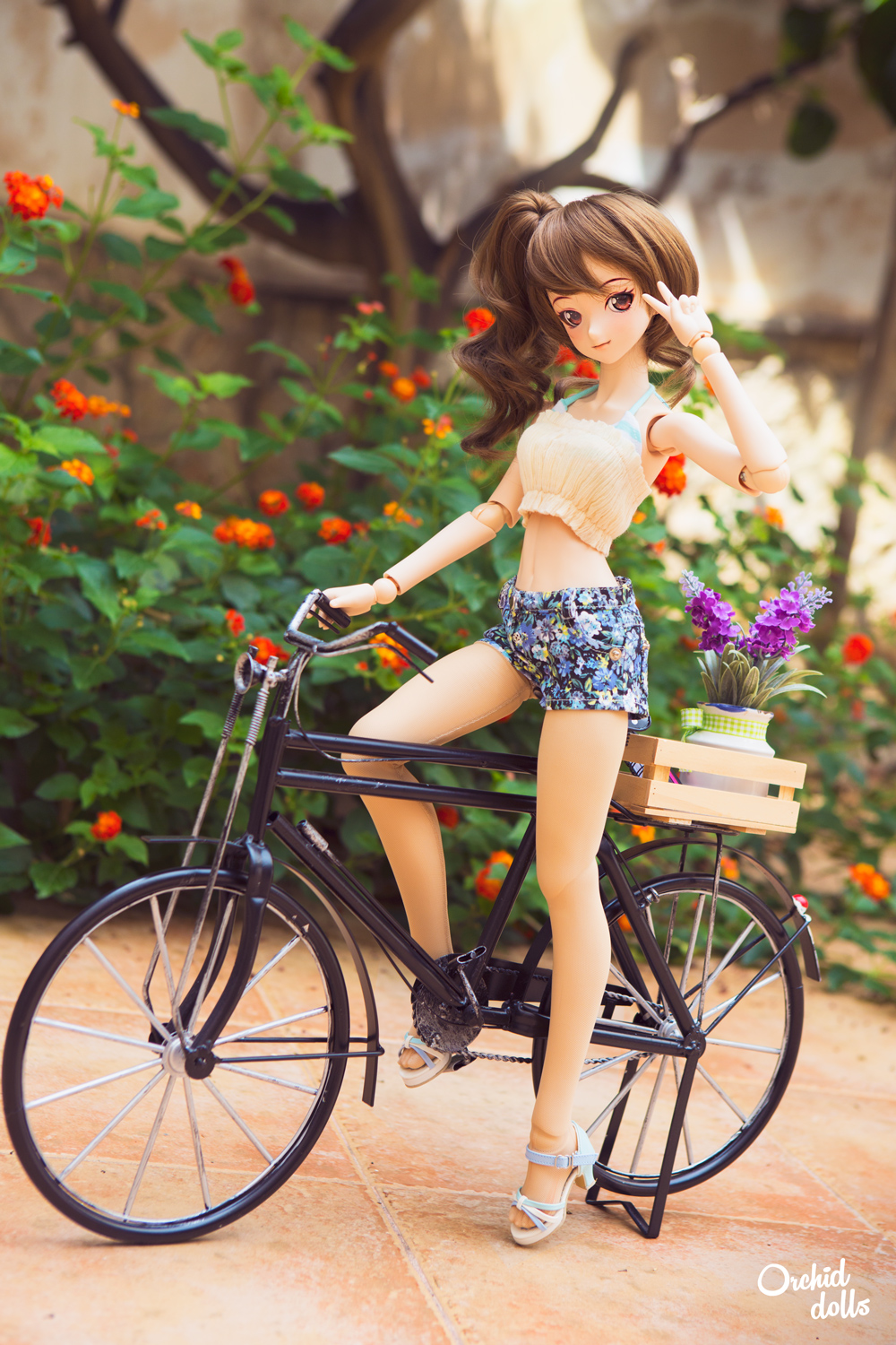 custom Dollfie Dream Kanna con bicicleta