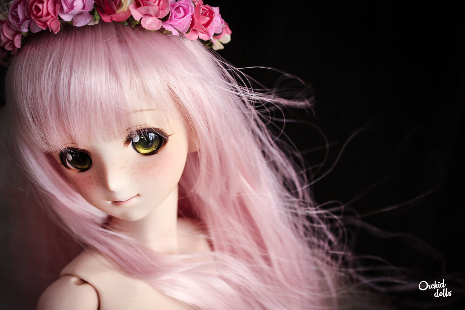 custom Dollfie Dream Melocotón M.O.M.O. pelo rosa