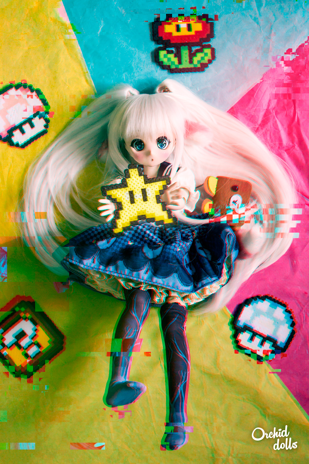 custom Mini Dollfie Dream DDH-01 Nebula con hama beads