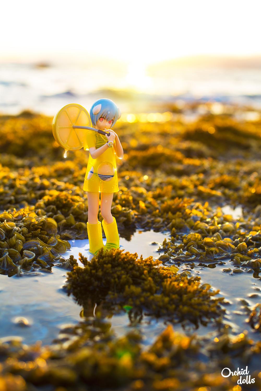 Rei Ayanami Evangelion Figure bikini playa verano puesta de sol
